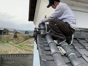 築40年以上の住宅で鬼瓦を落下防止の為に撤去させて頂きました
