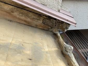雨漏りにより腐食した木材