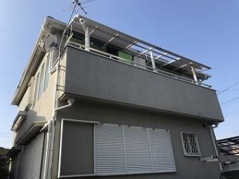 風災被害のテラス屋根