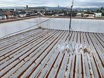 大和高田市で板金屋根の錆止め塗装工事