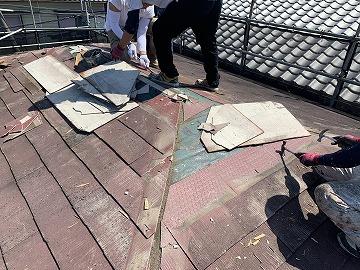 アスベスト含有屋根撤去