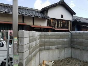 新設したブロック塀