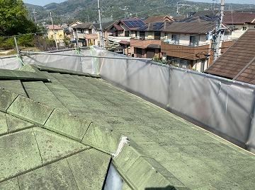 生駒市にてモニエル瓦のスラリー強化工法