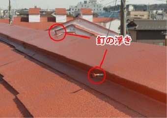 釘の浮きが目立つ屋根